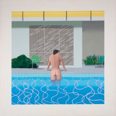 David Hockney: Peter izstopa iz Nickovega bazena (akril na platnu, 1966, zbirka Walker Art Gallery v Liverpoolu)
