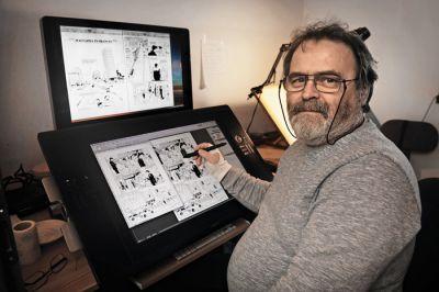 Bernard Kolle v svojem delovnem okolju, na ekranih pa njegov strip Malvazija in brancin, katerega nadaljevanja boste vv  kkrraattkkeemm  llaahhkkoo  spremljali v Mladini.