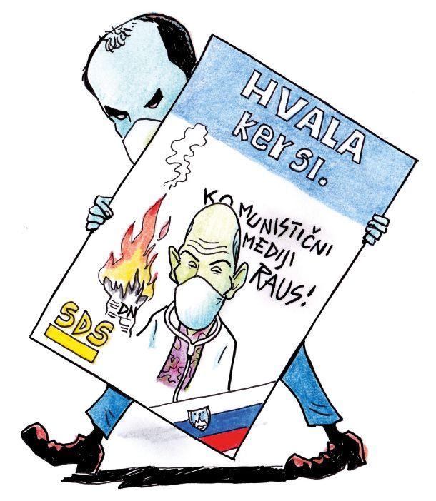 Karikatura iz zadnje kolumne Vlada Miheljaka v Mladini
