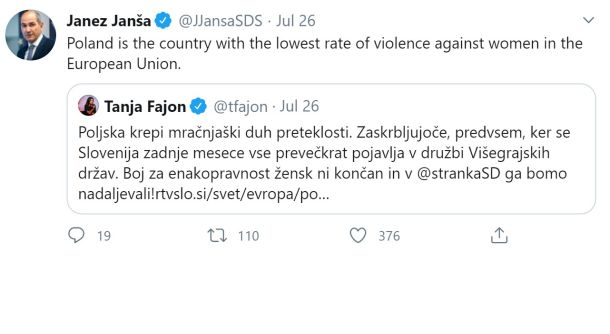 Janšev zapis na Twitterju 26.