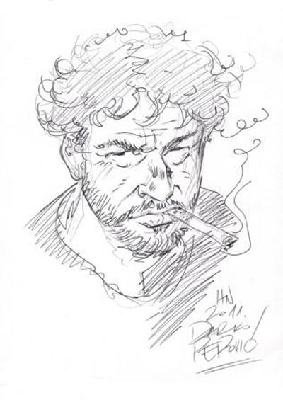 Portret Iztoka Sitarja v izvedbi mednarodno uveljavljenega srbskega risarja stripov Darka Perovića.