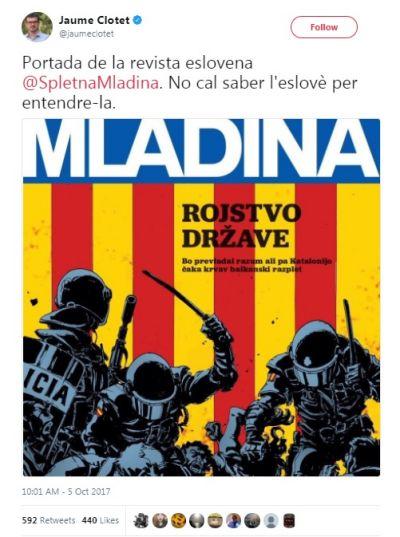 Mladinino naslovnico je na Twitterju objavil tudi prvi komunikator katalonske vlade Jaume Clotet