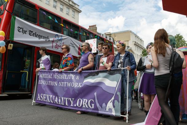 Predstavniki aseksualnega združenja na paradi ponosa v Londonu