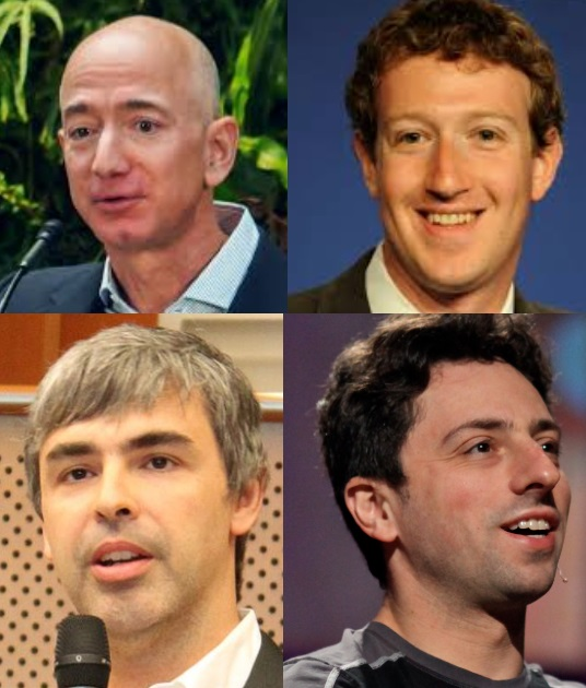 Milijarderji s preveč vpliva in monopolom: Jeff Bezos (Amazon), Mark Zuckerberg (Facebook) ter Larry Page in Sergey Brin (oba Google)