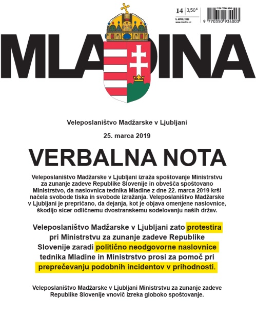 The newest cover of Mladina magazine with the Hungarian government protest letter to the Slovenian foreign ministry